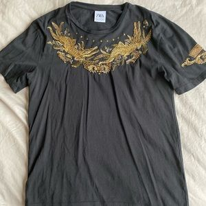 Zara black tee with gold embroidery